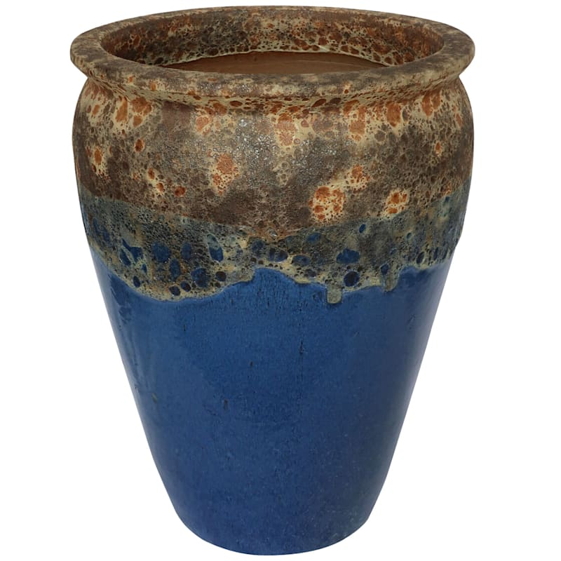 Acadia Ceramic Planter 29 7in Petrol Blue At Home