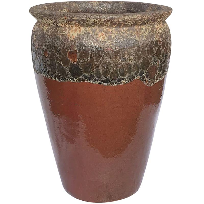 Acadia Ceramic Planter 20.9in. Brown Red