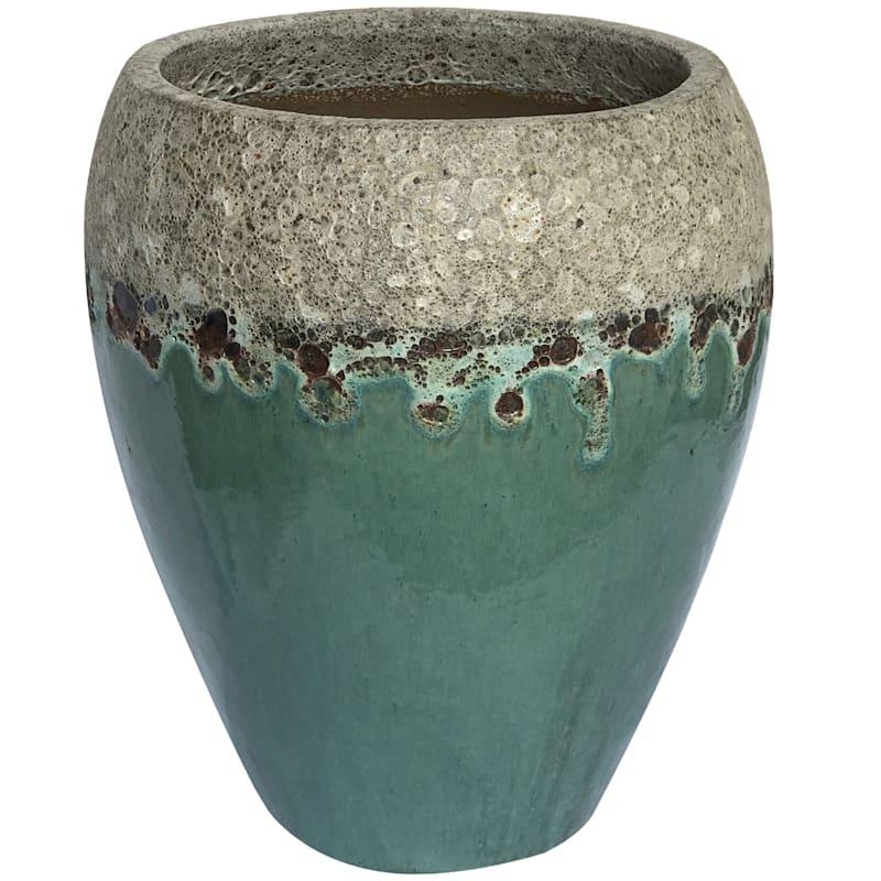Arcadia Urn Ceramic Planter 16.9in. White Aqua
