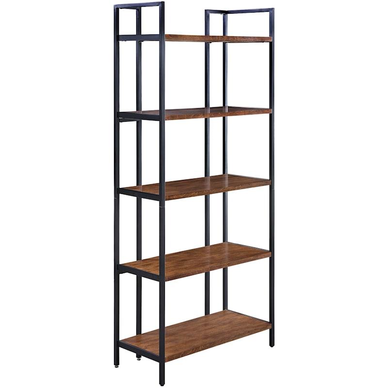 Parkview 5 Tier Metal & Wood Veneer Bookshelf