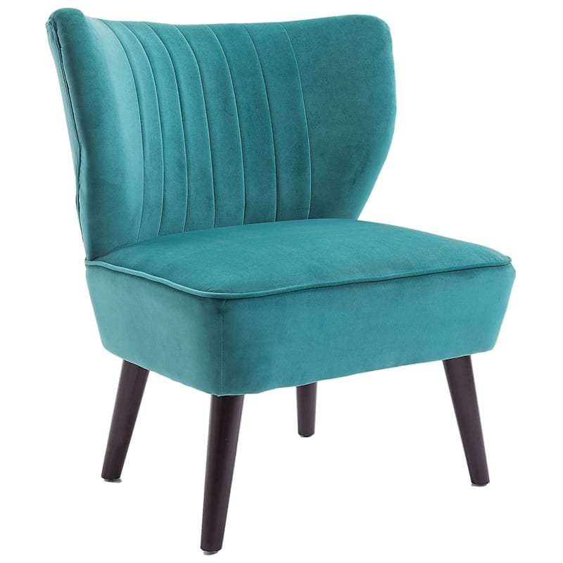 Carrie Modern Channel Tuft Back Green Accent Chair