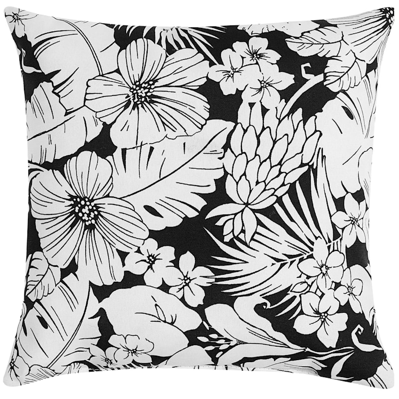 BW FLORAL 16INSQUARE PILLOW