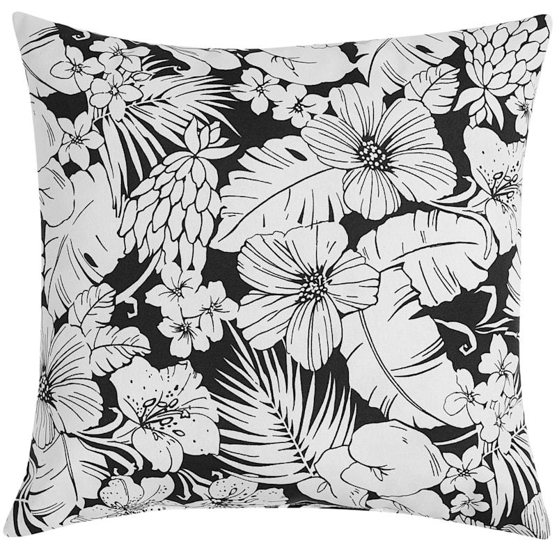 "Black & White Floral Outdoor Pillow, 20"" x 20"""