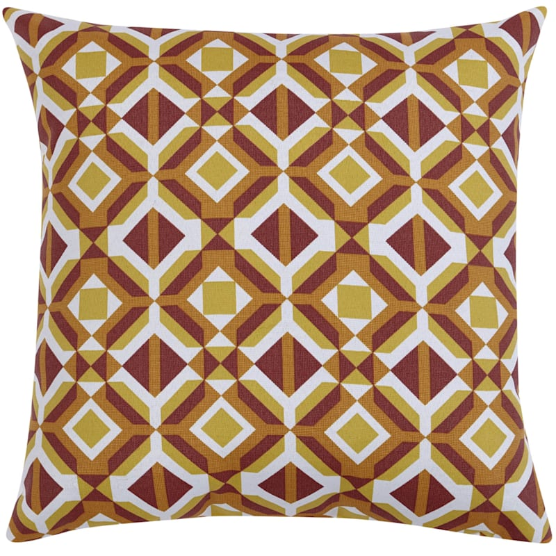 GEO RED 20IN SQUARE PILLOW