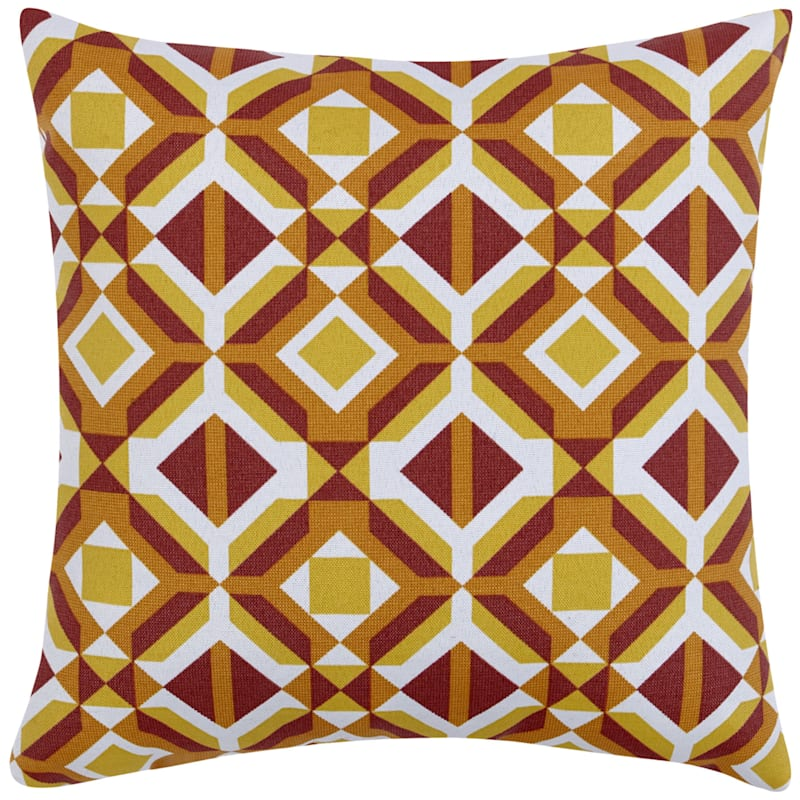 GEO RED 16IN SQUARE PILLOW