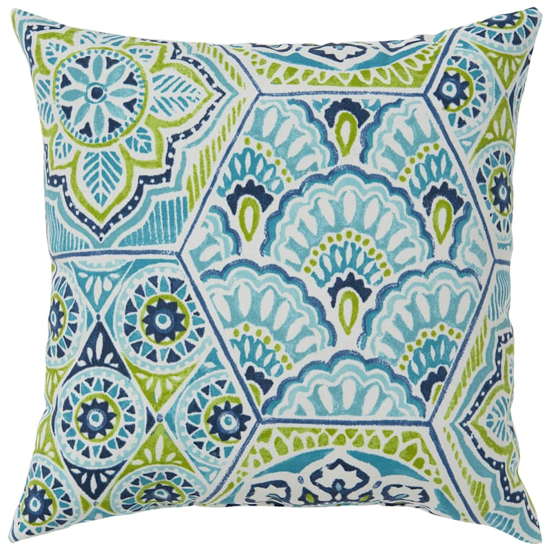 """Calista Teal Outdoor  Square Pillow, 16"""""""