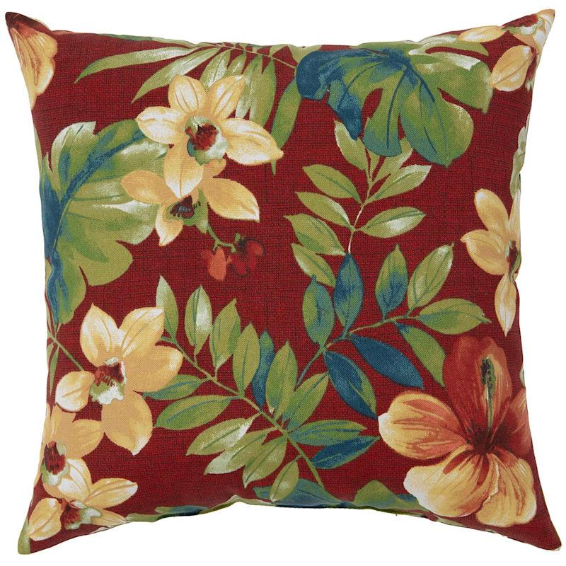 """Palani Geranium Outdoor  Square Pillow, 16"""""""