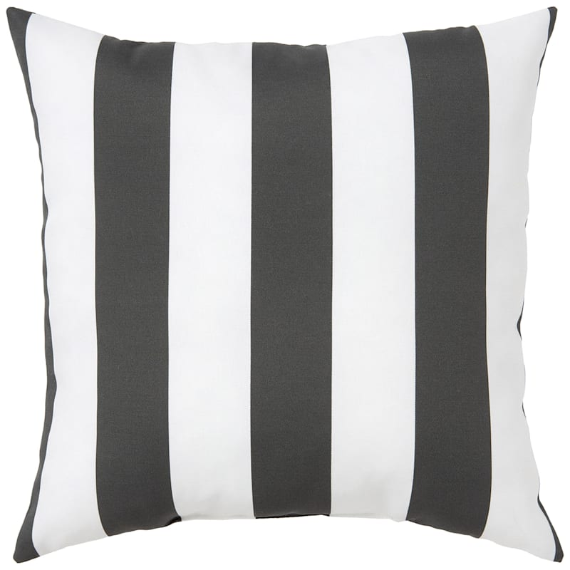 """Charcoal Awning Stripe Outdoor Square Pillow, 20"""""""