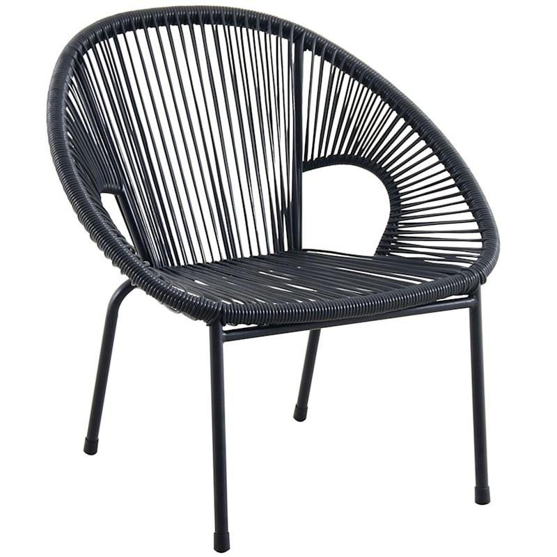 Black Steel Round Wicker Stacking Chair