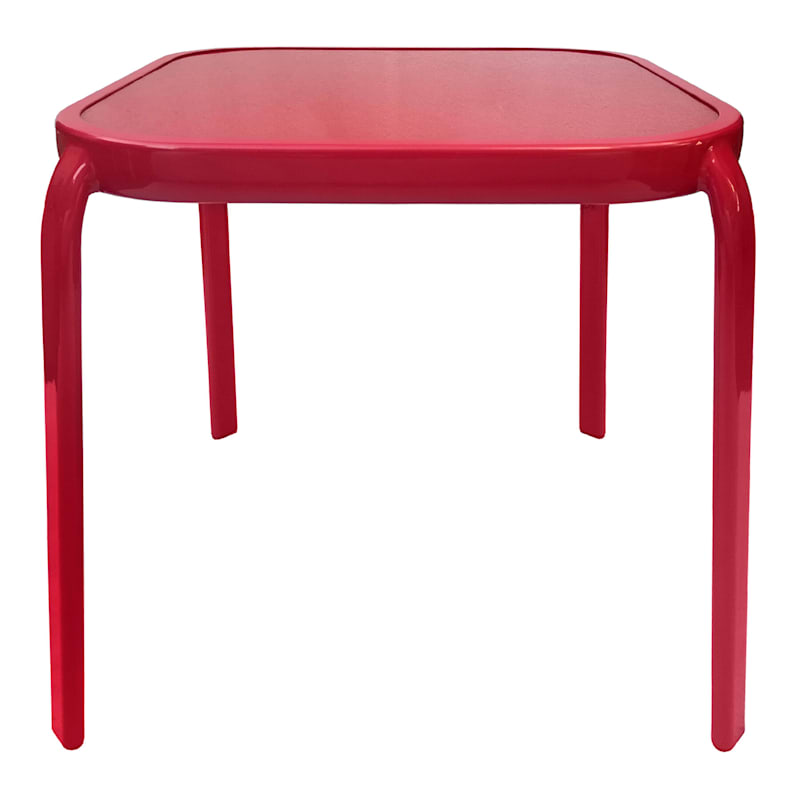 """Steel Red Square Outdoor End Table, 16"""""""