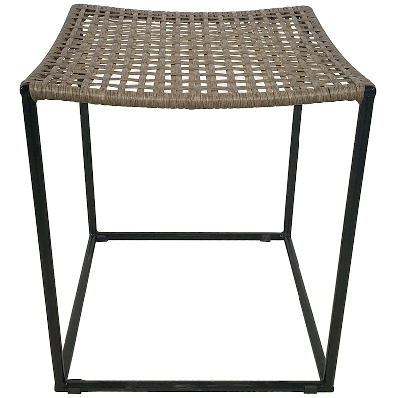 Large Wicker End Table, Tan