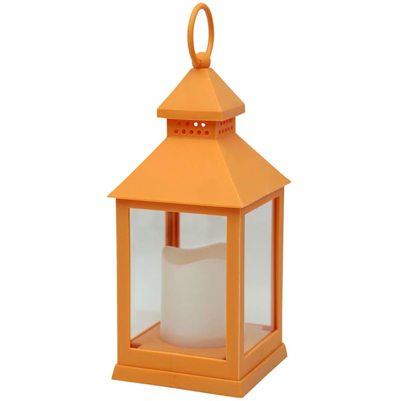 4X9 Weatherproof Led Plastic Lantern Orange/Led Candle