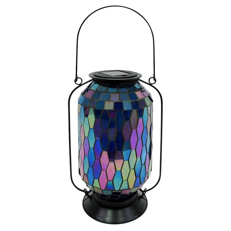 Metal Mosaic Glass Tall Round Lantern/Hexagonal Shape Tile Glass Pattern