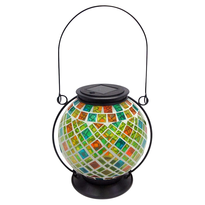 Metal Mosaic Glass Round Lantern W/Swirled Diamond Rectangle Tile Glass Pattern