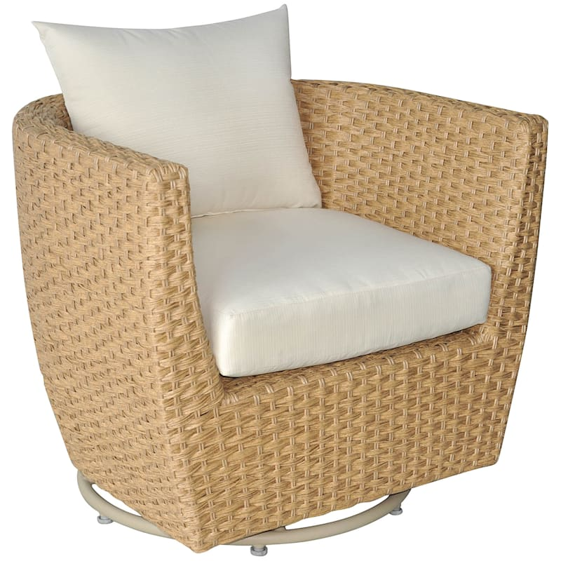 St Lucia Wicker Patio Swivel Lounge Chair With Cushions Natural At Home