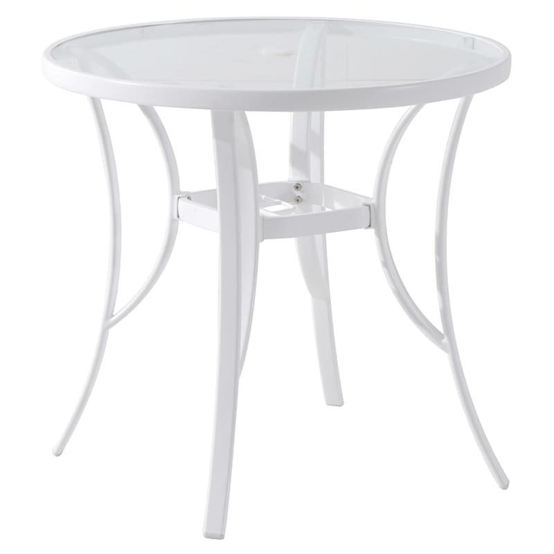 """Steel 42"""" Water Wave Tempered Glass Top Dining Table, White"""