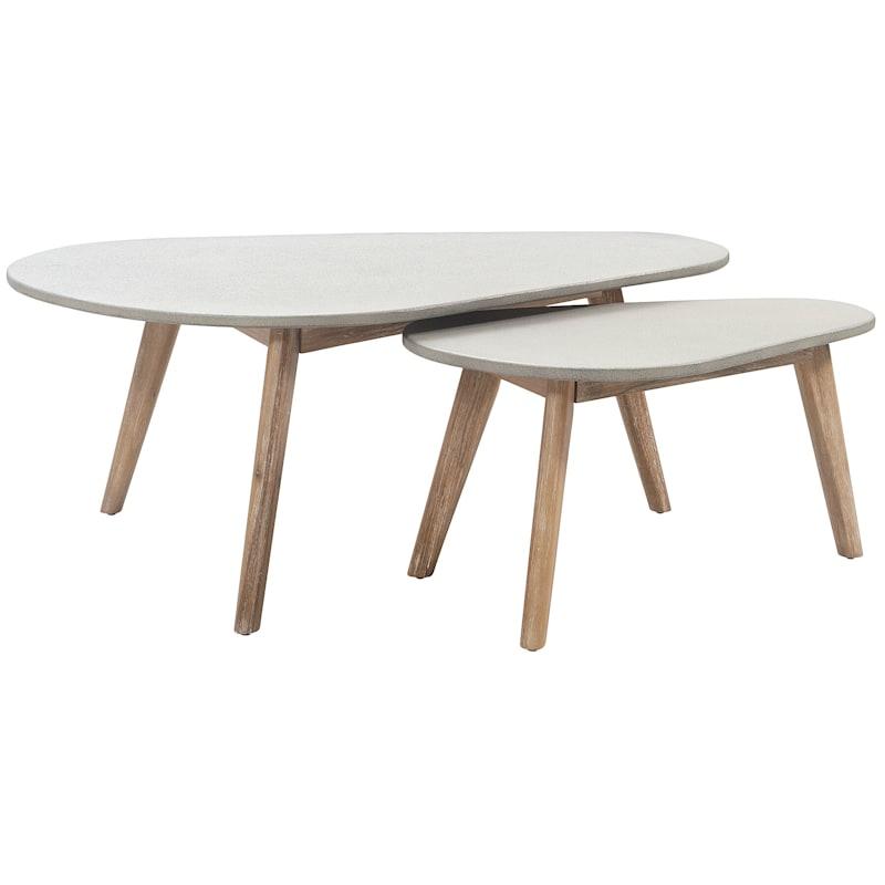 Set of 2 Venice Concrete & Wood Tables