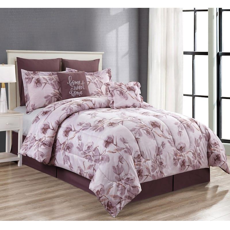 Peony 8-Piece Print Comforter Set Queen