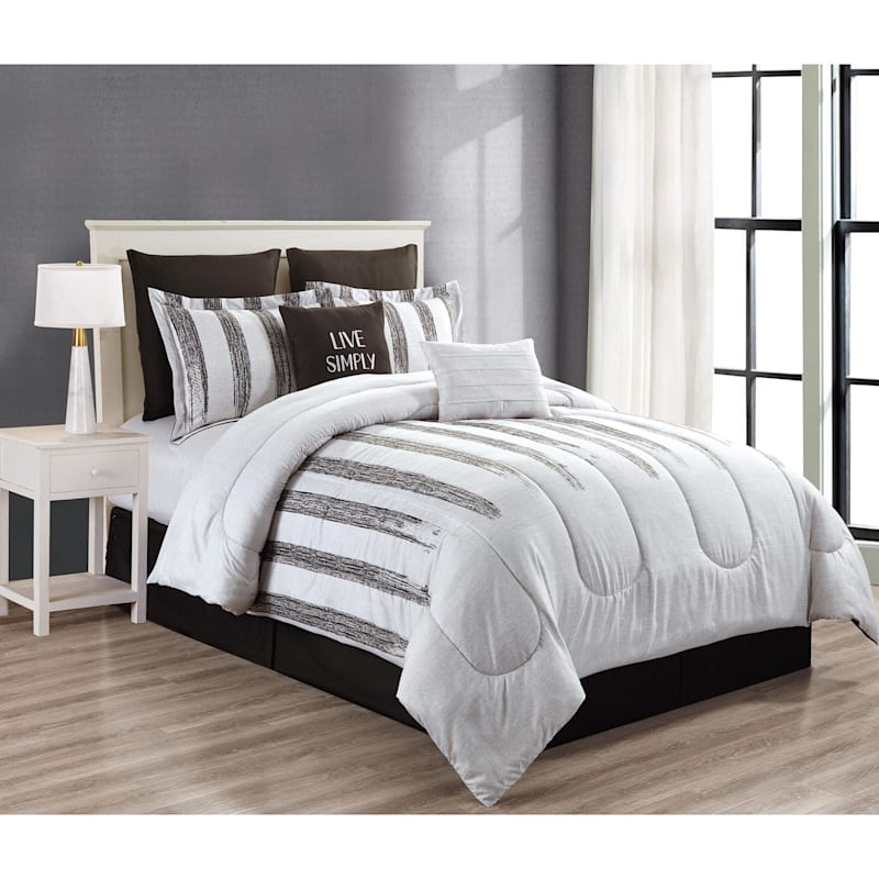 STRIPE 8PC QUEEN COMFORTER SET
