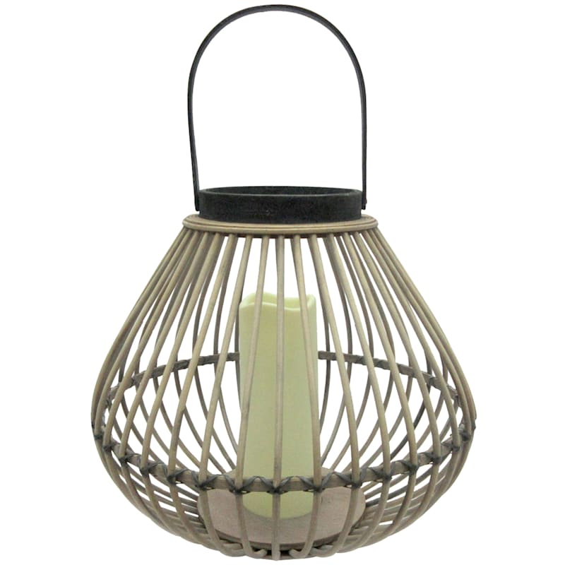 """Bamboo LED Candle Lantern, 12"""""""