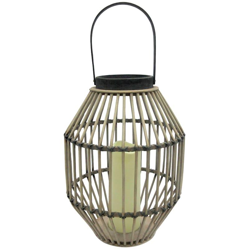 """Bamboo LED Candle Lantern, 14"""""""