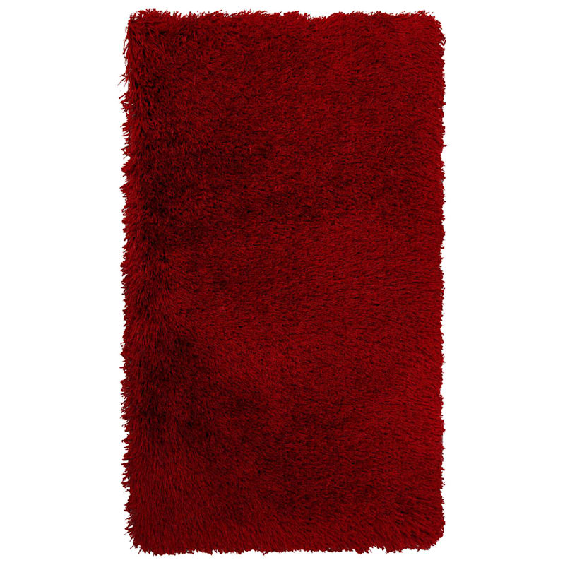 (C24) Plain Red Long Pile Shag, 3x5