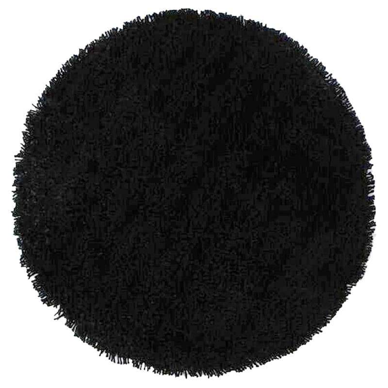 (C26) Solid Black Thick Pile Shag, 7x10
