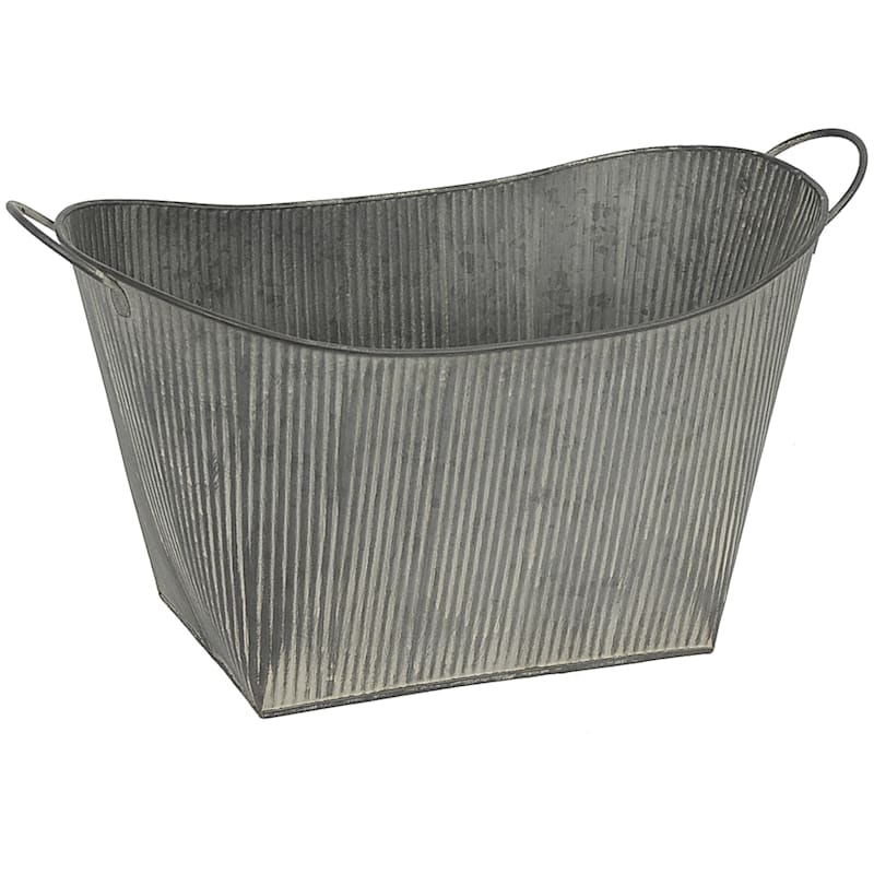Dark Galvanized Oval Ribbed Bucket L