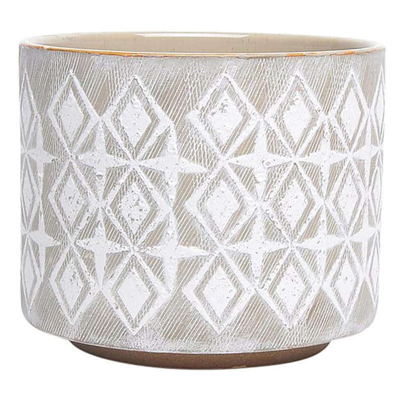 Carter 7.7in. Diamond Indoor Ceramic Planter