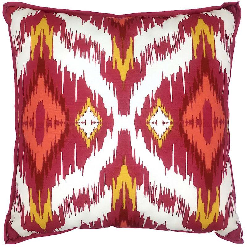 "Fuchsia Ikat Throw Pillow, 17"" x 17"""