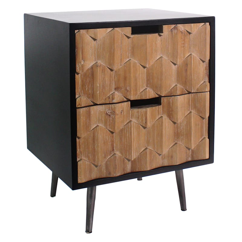 Cody 2-Drawer Hexagon Pattern Cabinet