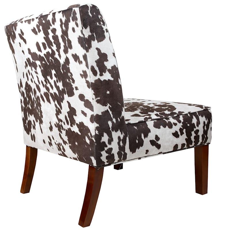 Cowhide-Print Fabric Slipper Chair, White/Brown