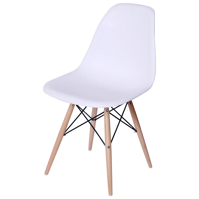 Eiffel Mid Century Modern Plastic Mold Chair with Natural Wood Legs