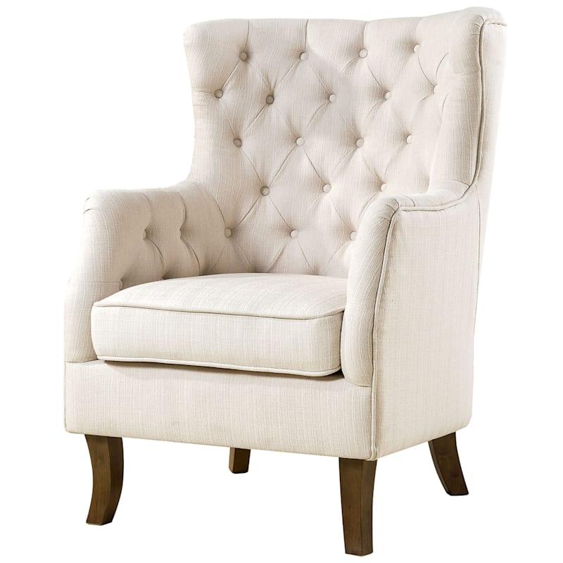 Norfolk Cream Linen Tufted High Back Arm Chair