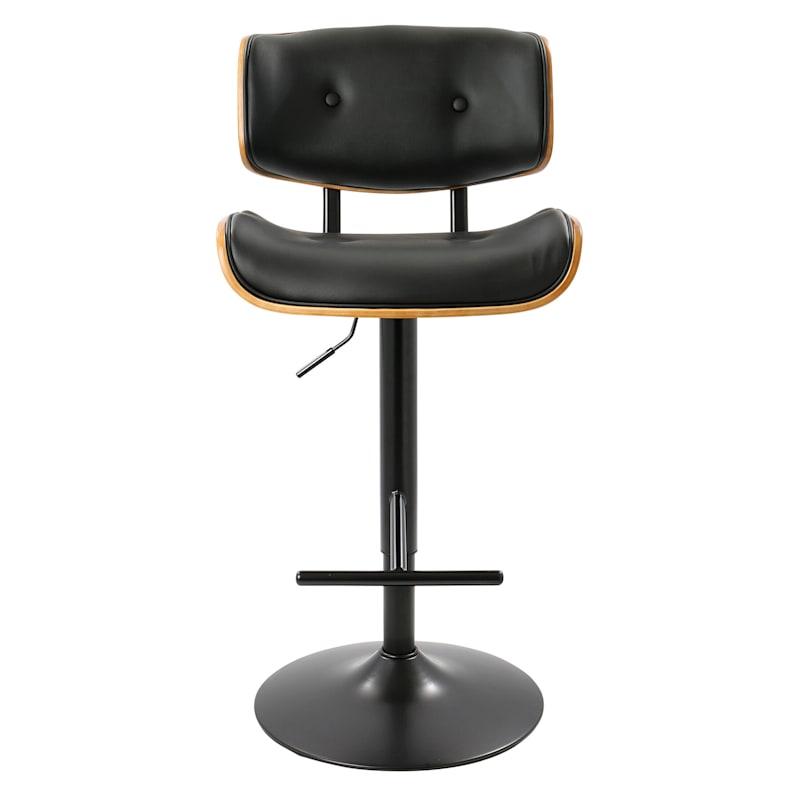 Lombardi Black & Walnut Adjustable Swivel Barstool