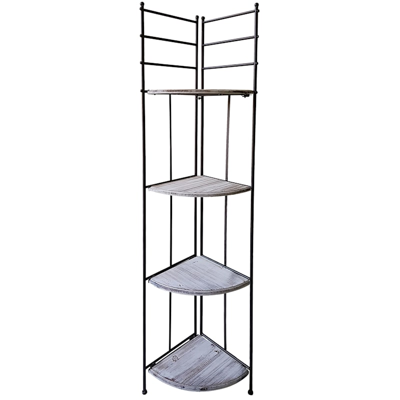 63in. Metal Corner Rack With Folding Wood Top Shelves