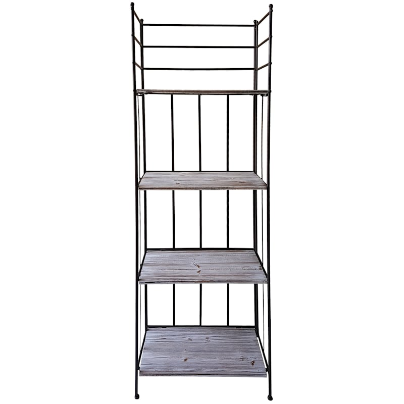63in. Metal Baker Rack With Folding Wood Top Shelves