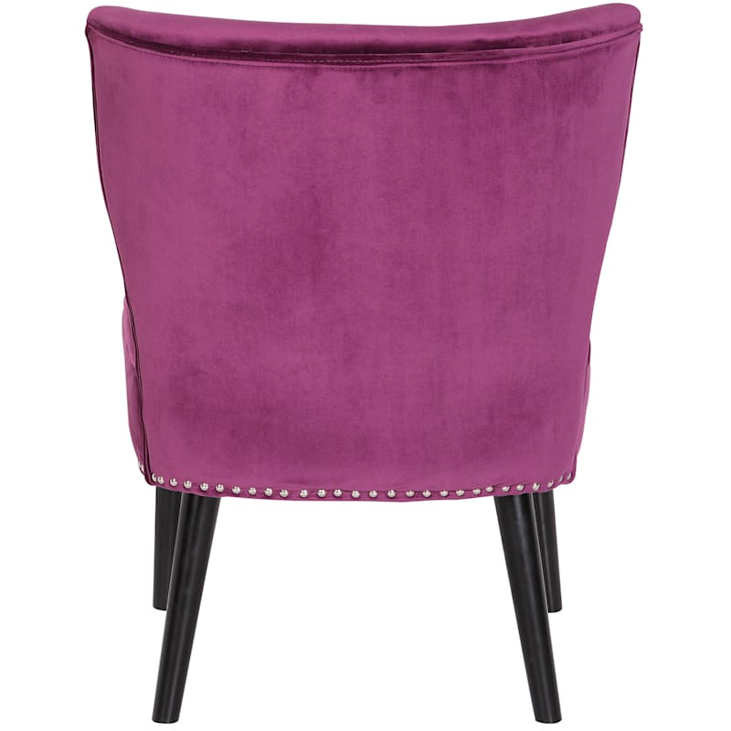 Jasper Plum Velvet Tufted Accent Chair
