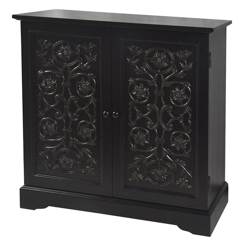 Ashton Black Carved 2 Door Wood Cabinet