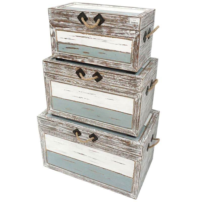 Nantucket Weathered Wood Decorative Storage Trunk, Medium