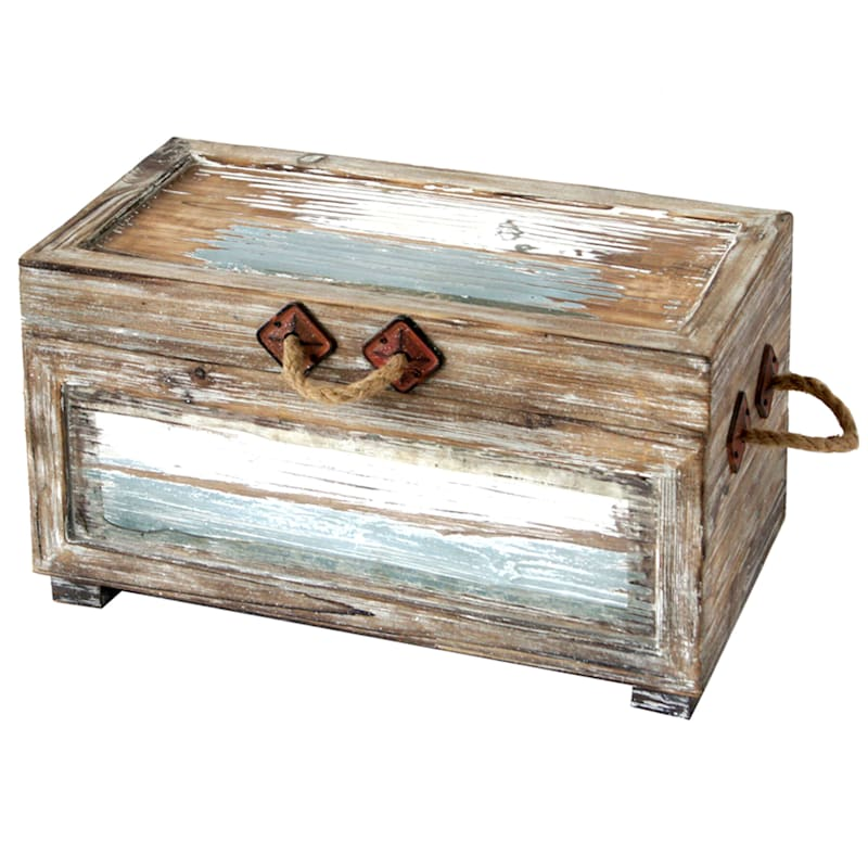 Nantucket Weathered Wood Decorative Storage Trunk, Small
