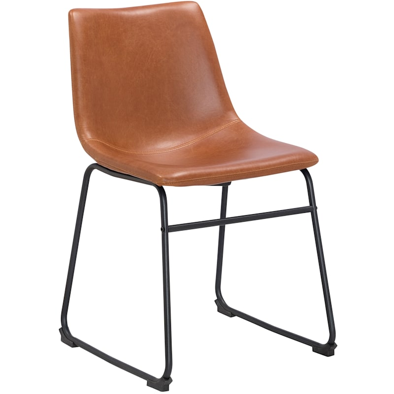 Collins Cognac Faux Leather Dining Chair