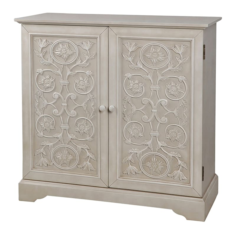 Ashton White Carved 2 Door Wood Cabinet