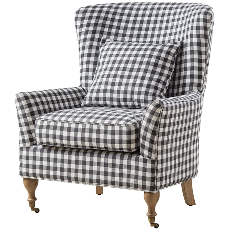 Lancaster Black & White Plaid Arm Chair with Casters