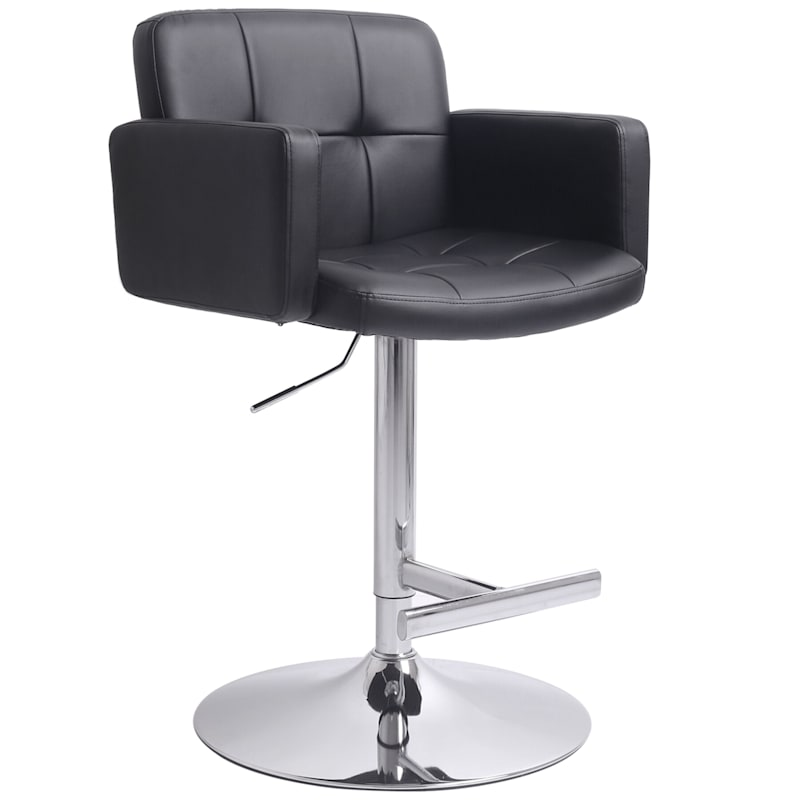 Stout Black Faux Leather Adjustable Barstool