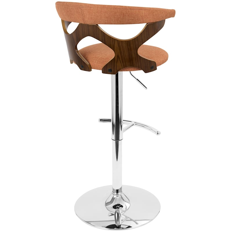 Gardenia Walnut & Orange Mid-Century Modern Adjustable Swivel Barstool