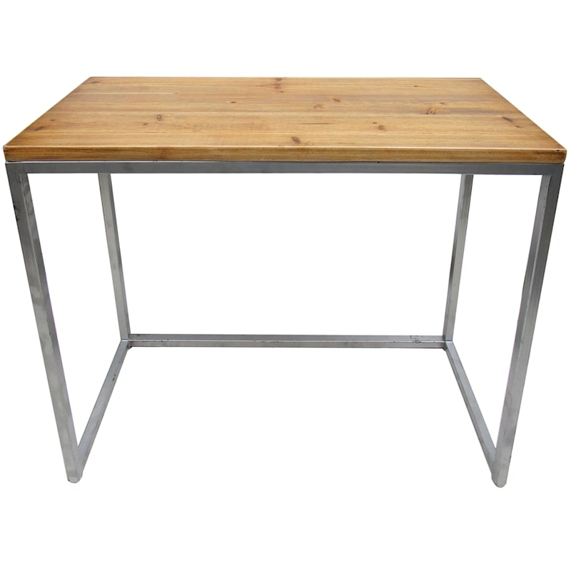 32in. Wood Top Console Table With Metal Legs, Medium
