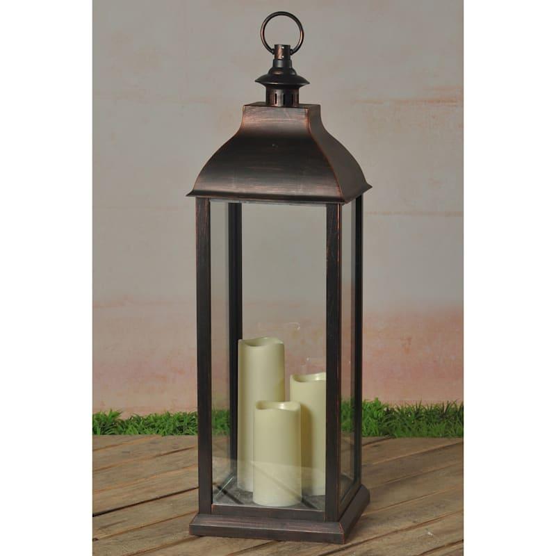 "Bronze LED Lantern, 28"""