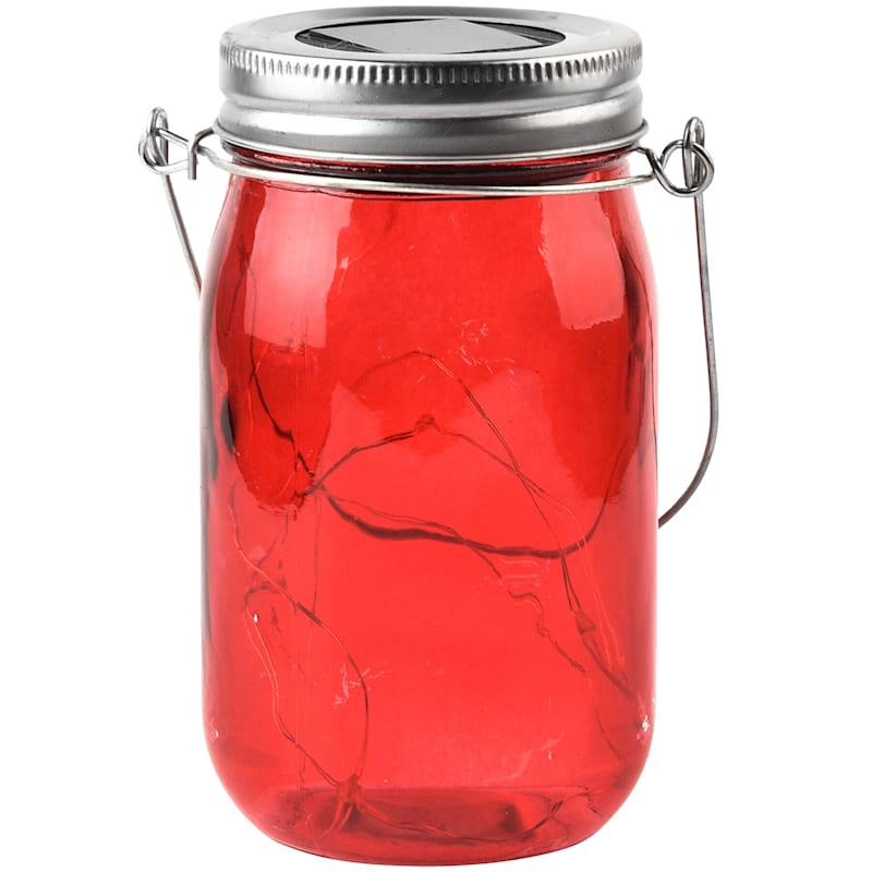 Red Glass and Plastic Jar Lantern, 5""