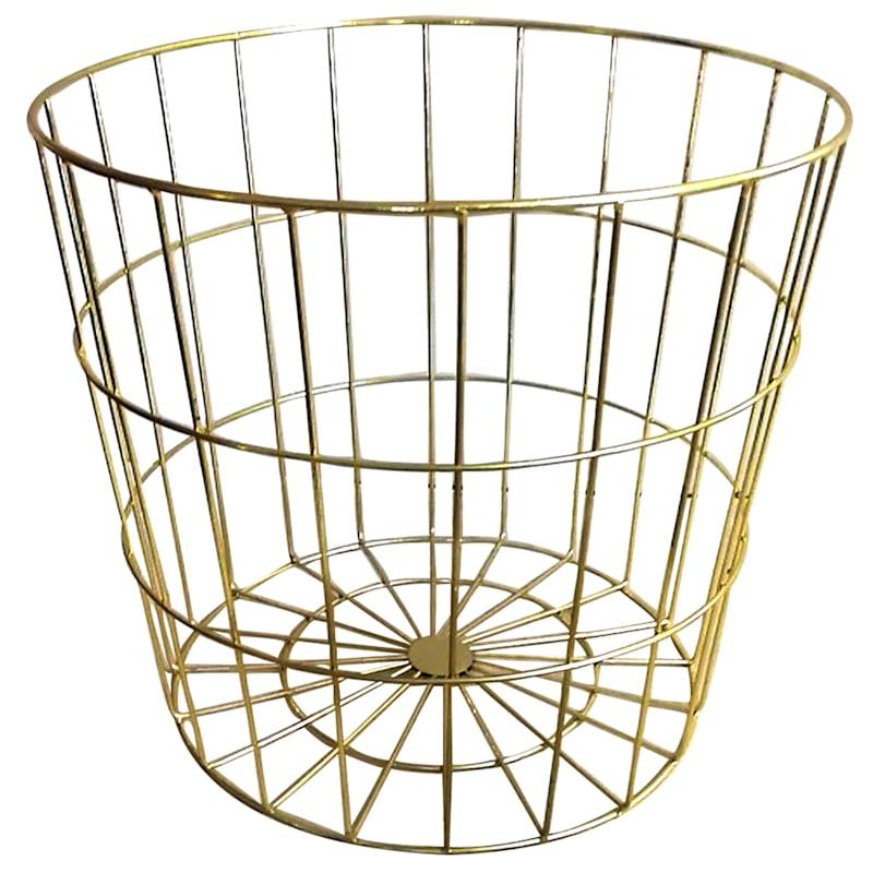 Round Gold Metal Basket M